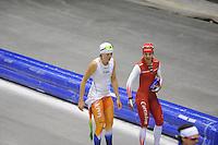 SCHAATSEN: HEERENVEEN: IJsstadion Thialf, 17-06-2013, Training zomerijs, Team Pursuit, Jorien ter Mors, Marrit Leenstra, ©foto Martin de Jong