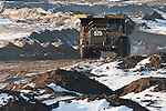 Tar Sands, March 2010. Syncrude and dumptrucks. Alberta Athabasca Tar Sands or Oil Sands.