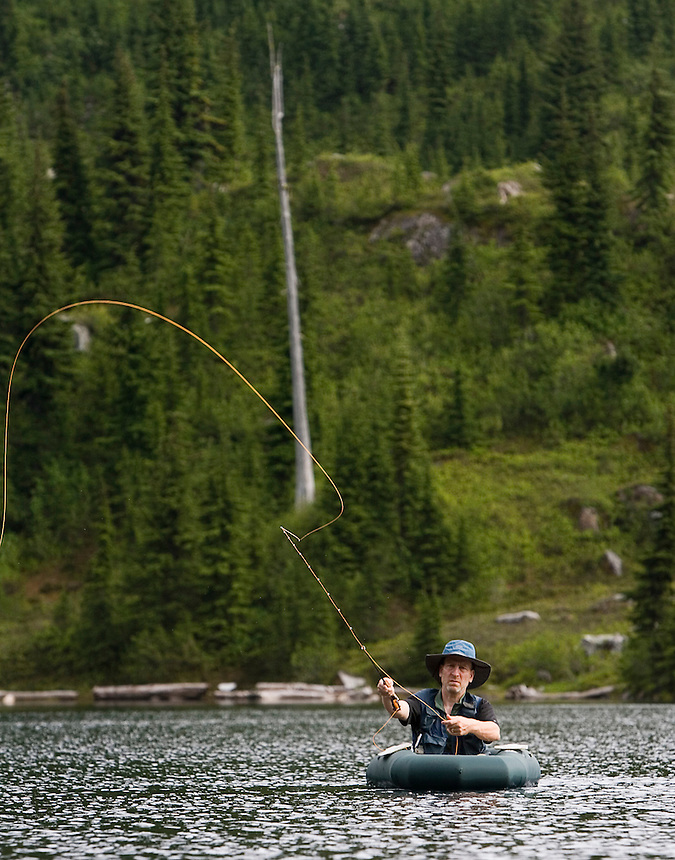 Photo by Stephen Brashear.Brian Curtis of Silverdale, Wash., a member of the Trailblazers, casts his line while fishing Monogram Lake in the North Cascades National Park near Marblemount, Wash., Tuesday Aug. 12, 2008. The Trailblazers is a club of high lakes anglers that helps the U.S. Forest Service stock high mountain lakes.