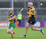Emma Lynch of Inagh/Cloonanaha in action against Emily Geary of Clonlara during their Schools Division 1 final at Cusack Park. Photograph by John Kelly