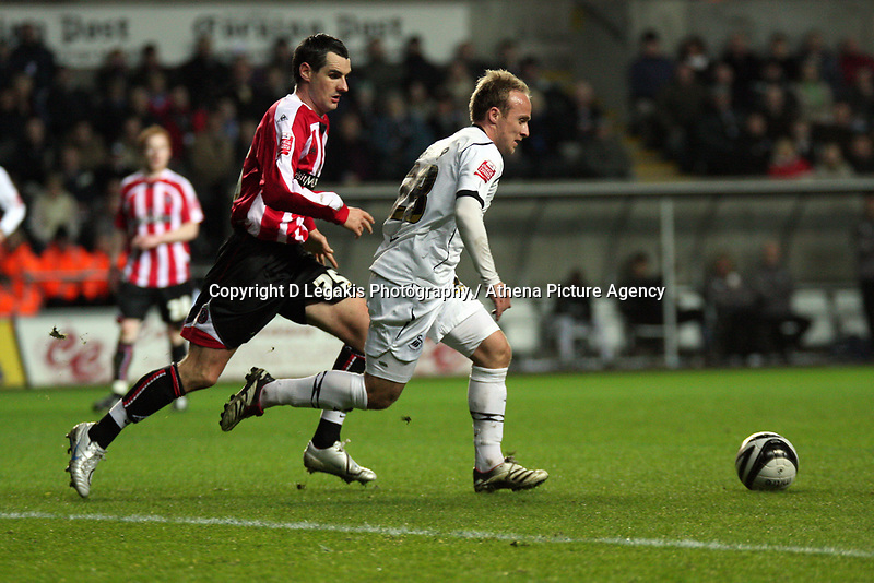 Pictured: Thomas Butler of Swansea City in action<br /> Re: Coca Cola Championship, Swansea City FC v Sheffield United at the Liberty Stadium. Swansea, south Wales, Saturday 13 December 2008.<br /> Picture by D Legakis Photography / Athena Picture Agency, Swansea 07815441513