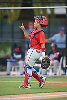 Philadelphia Phillies catcher Rafael Marchan (6) during an Instructional League game against the Atlanta Braves on October 9, 2017 at the Carpenter Complex in Clearwater, Florida.  (Mike Janes/Four Seam Images)