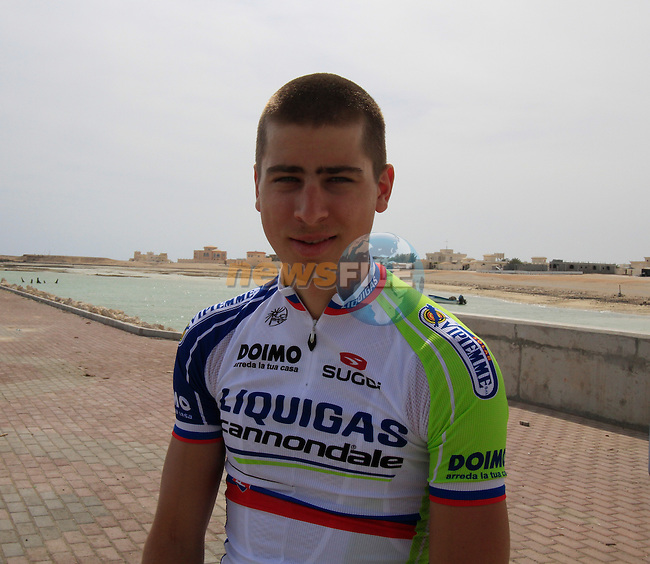 Liquigas-Cannondale rider Peter Sagan (SVK) relaxes before the start of Stage 4 of the 2012 Tour of Qatar from Al Thakhira to Madinat Al Shamal, Al Thakhira port Qatar, 8th February 2012 (Photo Eoin Clarke/Newsfile)