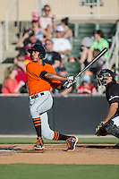 Johneshwy Fargas (10) of the Augusta GreenJackets follows through on his swing against the Kannapolis Intimidators at Intimidators Stadium on May 30, 2016 in Kannapolis, North Carolina.  The GreenJackets defeated the Intimidators 5-3.  (Brian Westerholt/Four Seam Images)