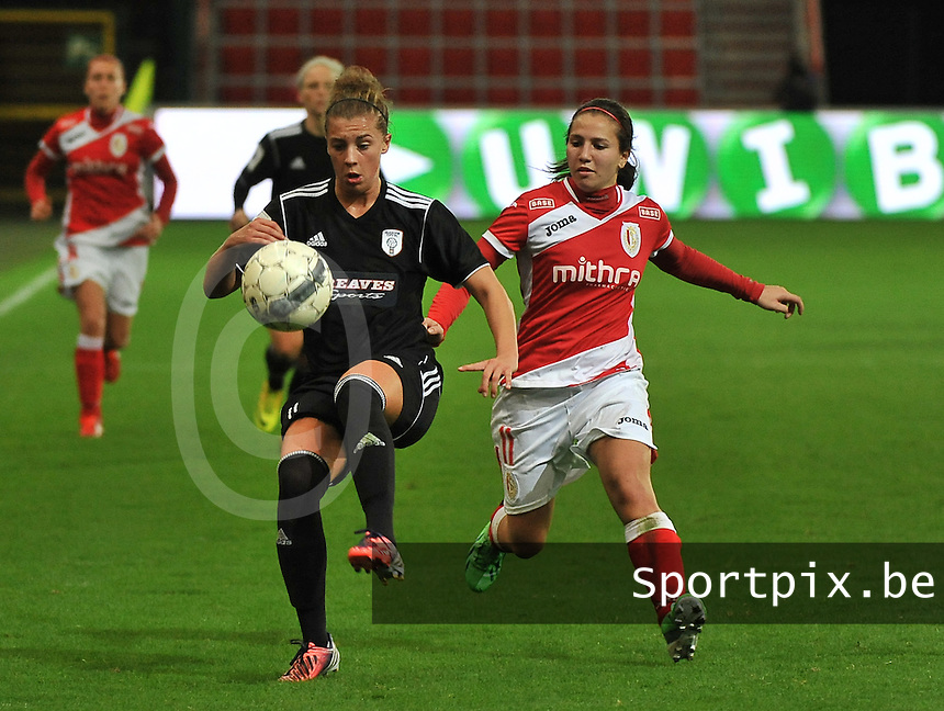 20131009 - LIEGE , BELGIUM : Glasgow Nicola Docherty (left) pictured with STandard's Vanity Lewerissa during the female soccer match between STANDARD Femina de Liege and  GLASGOW City LFC , in the 1/16 final ( round of 32 ) first leg in the UEFA Women's Champions League 2013 in stade maurice dufrasne - Sclessin in Liege. Wednesday 9 October 2013. PHOTO DAVID CATRY