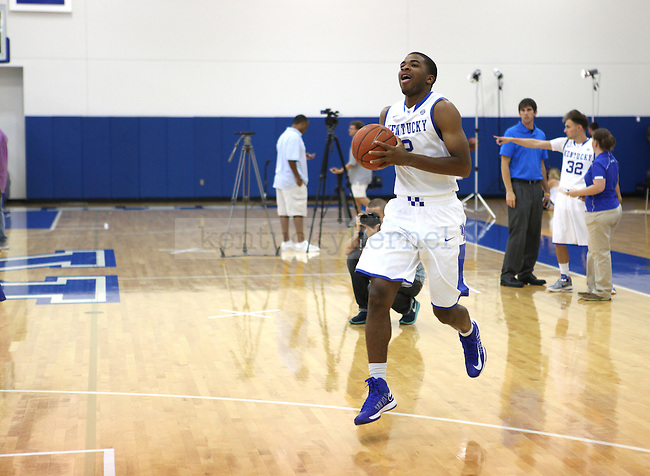 Aaron Harrison skipping to the basket during basketball photo media day in Lexington, Ky., on Thursday, September 12, 2013. Photo by Eleanor Hasken l Staff