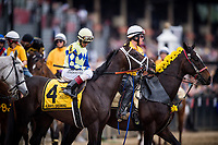 BALTIMORE, MD - MAY 20:  Always Dreaming #4 with John Velazquez aboard during the post parade before the Preakness Stakes at Pimlico Race Course on May 20, 2017 in Baltimore, Maryland. (Photo by Alex Evers/Eclipse Sportswire/Getty Images)