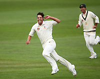 Australian bowler Mitchell Johnson celebrates his unorthodox runout of Peter Ingram. 1st cricket test match - New Zealand Black Caps v Australia, day two at the Basin Reserve, Wellington.Saturday, 20 March 2010. Photo: Dave Lintott / lintottphoto.co.nz