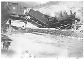 #463 on east wye bridge collapsed.<br /> D&amp;RGW  Cimarron, CO  Taken by Price, Earl - 6/16/1938