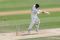 Simon Harmer of Essex is bowled out by Matthew Fisher during Essex CCC vs Yorkshire CCC, Specsavers County Championship Division 1 Cricket at The Cloudfm County Ground on 8th July 2019