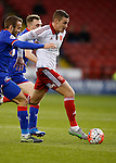 Paul Coutts of Sheffield Utd surges forward with Liam Kelly of Oldham Athletic - FA Cup Second round - Sheffield Utd vs Oldham Athletic - Bramall Lane Stadium - Sheffield - England - 5th December 2015 - Picture Simon Bellis/Sportimage