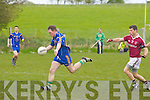 Padraig McCarthy (ballymacelligott) in action with Chris Farley (Dromid) in the Div 3 5th round of the League on Sunday at Ballymacelligott GAA grounds.