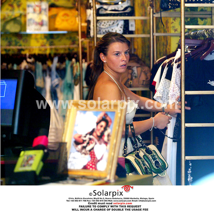 ALL ROUND PICTURES BY SOLARPIX.COM.MUST CREDIT SOLARPIX.COM OR DOUBLE FEE WILL BE CHARGED.Wayne Rooney's girlfriend Coleen Mcgloulin goes on a shopping expedition in Soho London today..Job Ref EBR 2540  4.7.06