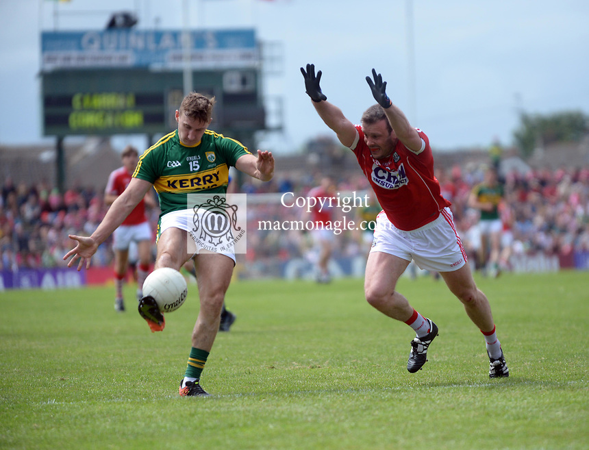 2-7-2017: Kerry's James O'Donoghue and Cork's James Loughrey in action at the Kerry V Cork Munster Football final in Killarney on Sunday.<br /> Photo: Don MacMonagle