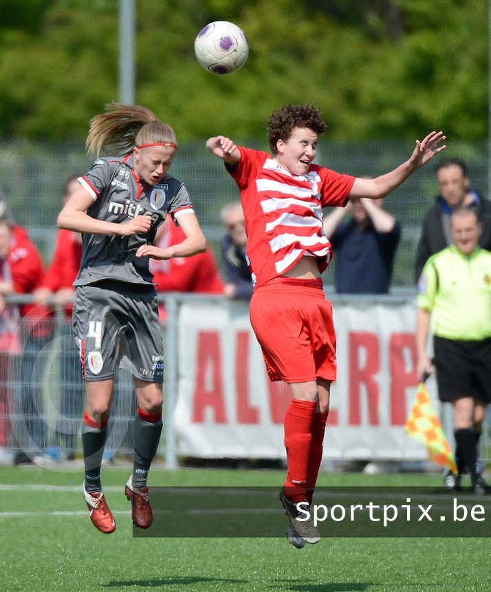 20140419 - ANTWERPEN , BELGIUM : Standard's Julie Biesmans (left) pictured with Antwerp Jolien Belmans (right) during the soccer match between the women teams of RAFC Antwerp Ladies  and Standard Femina  , on the 24th matchday of the BeNeleague competition on Saturday 19 April 2014 in Deurne .  PHOTO DAVID CATRY