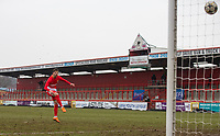 Adrien Bongiovanni of AS Monaco FC Youth hits a penalty during the UEFA Youth League round of 16 match between Tottenham Hotspur U19 and Monaco at Lamex Stadium, Stevenage, England on 21 February 2018. Photo by Andy Rowland.