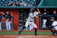 Wisconsin Timber Rattlers second baseman Brice Turang (2) during a Midwest League game against the Lansing Lugnuts at Cooley Law School Stadium on May 1, 2019 in Lansing, Michigan. Wisconsin defeated Lansing 2-1 in the second game of a doubleheader. (Zachary Lucy/Four Seam Images)
