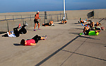 Outdoor keep fit activity group Corrajelo, Fuerteventura, Canary Islands, Spain
