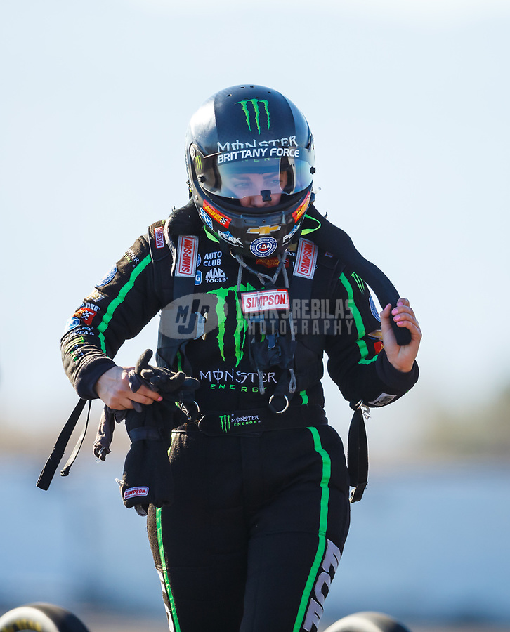Jan. 31, 2018; Chandler, AZ, USA; NHRA top fuel driver Brittany Force during Nitro Spring Training pre season testing at Wild Horse Pass Motorsports Park. Mandatory Credit: Mark J. Rebilas-USA TODAY Sports