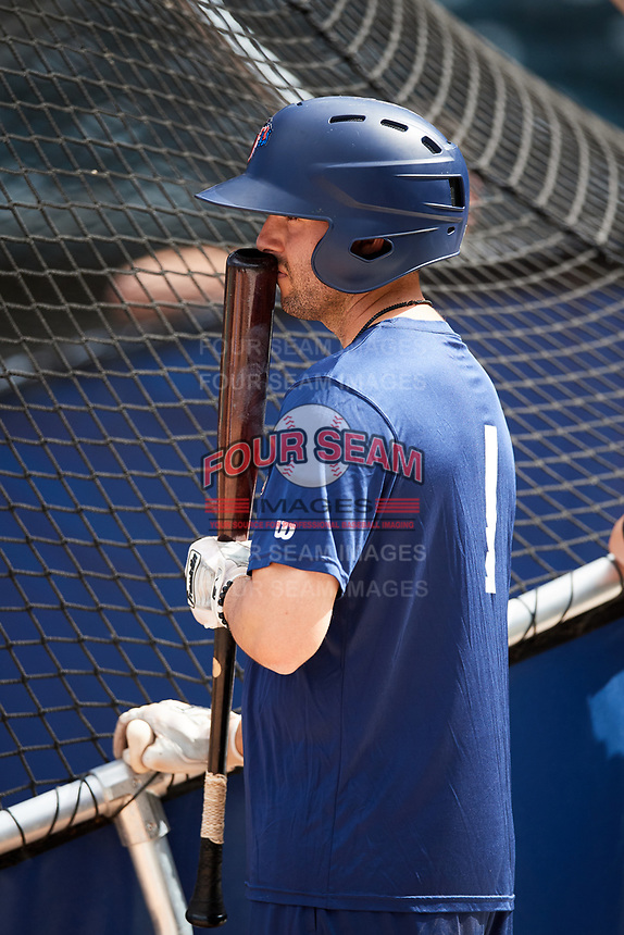Jacksonville Jumbo Shrimp Chris Diaz (1) during batting practice before a game against the Mobile BayBears on April 14, 2018 at Baseball Grounds of Jacksonville in Jacksonville, Florida.  Mobile defeated Jacksonville 13-3.  (Mike Janes/Four Seam Images)