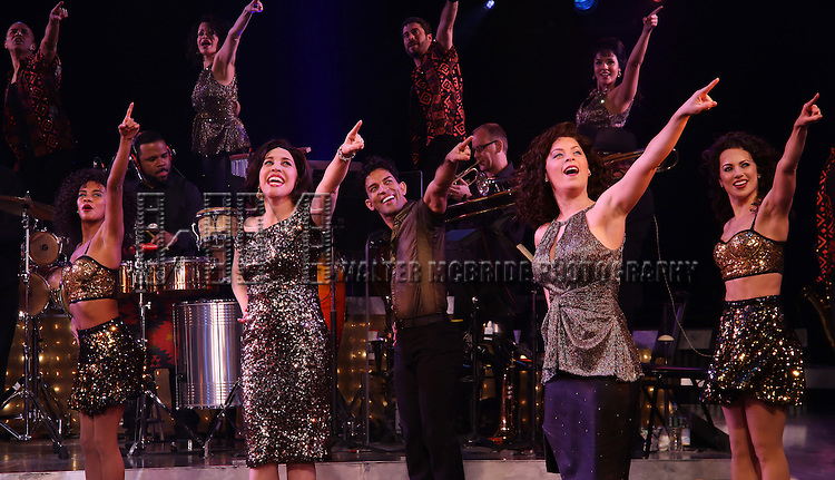 Andréa Burns and Carlos E. Gonzalez with cast of the Broadway production of 'On Your Feet!' celebrate their 500th performance at Marquis Hotel  on January 18, 2017 in New York City.