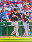 19 September 2015: Miami Marlins outfielder Christian Yelich in action against the Washington Nationals at Nationals Park in Washington, DC. The Marlins fell to the Nationals 5-2 in the third game of their 4-game series. Mandatory Credit: Ed Wolfstein Photo *** RAW (NEF) Image File Available ***