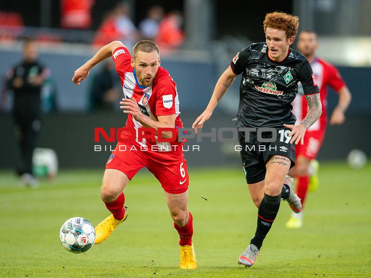 Patrick Mainka (FC Heidenheim, #06), Joshua Sargent (SV Werder Bremen #19),<br /> <br /> GER, FC Heidenheim vs. Werder Bremen, Fussball, Bundesliga Religation, 2019/2020, 06.07.2020,<br /> <br /> DFB/DFL regulations prohibit any use of photographs as image sequences and/or quasi-video., <br /> <br /> <br /> Foto: EIBNER/Sascha Walther/Pool/gumzmedia/nordphoto