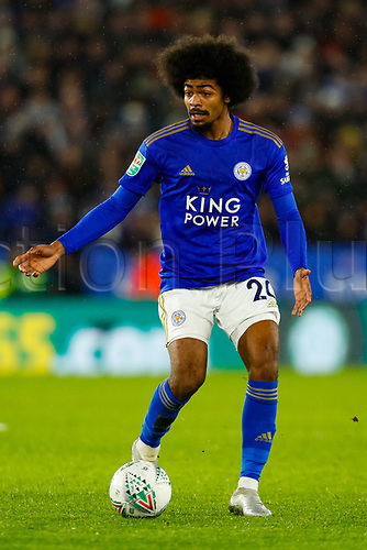 8th January 2020; King Power Stadium, Leicester, Midlands, England; English Football League Cup Football, Carabao Cup, Leicester City versus Aston Villa; Hamza Choudhury of Leicester City on the ball - Strictly Editorial Use Only. No use with unauthorized audio, video, data, fixture lists, club/league logos or 'live' services. Online in-match use limited to 120 images, no video emulation. No use in betting, games or single club/league/player publications