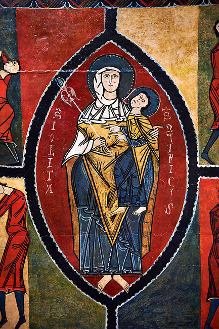 12th century Romanesque painted altar front from Saint Quirc de Durro, Val de Boi, Alta Ribagorca, Spain, showing The Madonna and Child.  National Art Museum of Catalonia, Barcelona 1919-23. Ref: MNAC 15809.