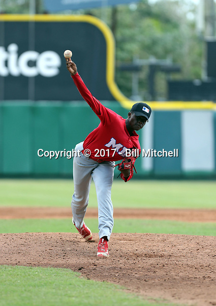Carlos Reyes participates in the MLB International Showcase at Estadio Quisqeya on February 22-23, 2017 in Santo Domingo, Dominican Republic.