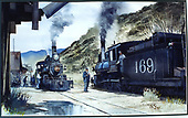 Photograph of a Jan Rons watercolor showing #169 leading the southbound Chili Line train meeting the northbound with #164 at Embudo.<br /> D&amp;RG  Embudo, NM  Taken by Rons, Jan (Artist) - circa 1920-1929