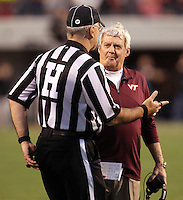 CHARLOTTESVILLE, VA- NOVEMBER 12: Virginia Tech Hokies head coach Frank Beamer coaches talks with the referee during the game against the Virginia Cavaliers on November 28, 2011 at Scott Stadium in Charlottesville, Virginia. Virginia Tech defeated Virginia 38-0. (Photo by Andrew Shurtleff/Getty Images) *** Local Caption *** Frank Beamer