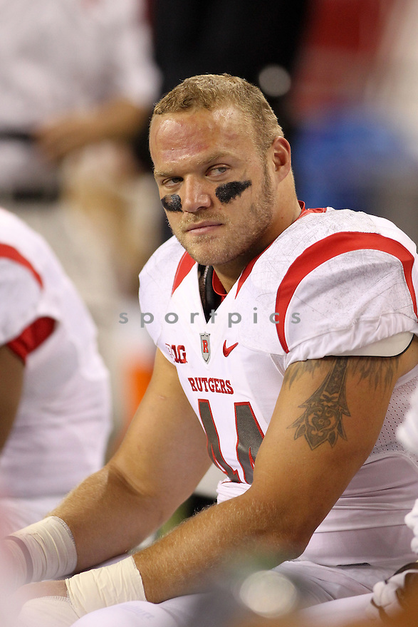 Rutgers Scarlet Knights Sam Bergen (44) during a game against the Washington State Cougars on September 28, 2014 at CenturyLink Field in Seattle Washington. Rutgers beat Washington 41-38.