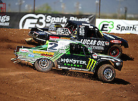 Apr 15, 2011; Surprise, AZ USA; LOORRS driver Casey Currie (2) and Brian Deegan (38) during round 3 and 4 at Speedworld Off Road Park. Mandatory Credit: Mark J. Rebilas-.