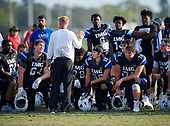 Head coach Kevin Wright, Ramsey Kifolo (64), Michael Silveira, Greg Crippen (74) - Norland Vikings (Miami) vs IMG Academy Football on October 26, 2019 at IMG Academy in Bradenton, Florida.  (Mike Janes Photography)