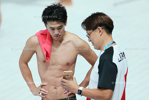 (L-R) Sho Sakai, Suei Mabuchi coach (JPN), JULY 30, 2015 - Diving : 16th FINA World Championships Kazan 2015 Men's 3m Springboard Preliminary at Aquatics Palace in Kazan, Russia. (Photo by Yohei Osada/AFLO SPORT)