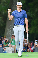 Dustin Johnson (USA) sinks his par putt on 18 sealing the victory of the World Golf Championships, Mexico, Club De Golf Chapultepec, Mexico City, Mexico. 3/5/2017.<br /> Picture: Golffile | Ken Murray<br /> <br /> <br /> All photo usage must carry mandatory copyright credit (&copy; Golffile | Ken Murray)