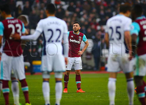 February 11th 2017, London Stadium, London, England, Premier League football, West Ham versus West Bromwich Albion; Robert Snodgrass of West Ham prepares to take a free kick, as Jose Fonte of West Ham and West Brom's Nacer Chadli and Craig Dawson take up position