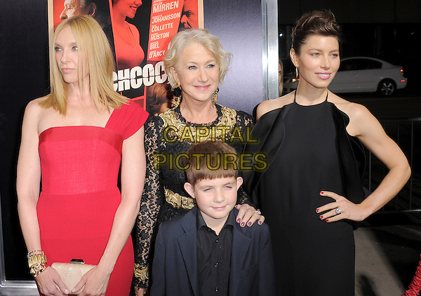 "Toni Collette, Helen Mirren, Felix Mirren & Jessica Biel.""Hitchcock"" Los Angeles Premiere held at the AMPAS Samuel Goldwyn Theater, Beverly Hills, California, USA.  .November 20th, 2012.half length dress black gold embroidered collar lace red one hand on hip halterneck ruffle frills blue suit jacket nephew aunt .CAP/RKE/DVS.©DVS/RockinExposures/Capital Pictures."