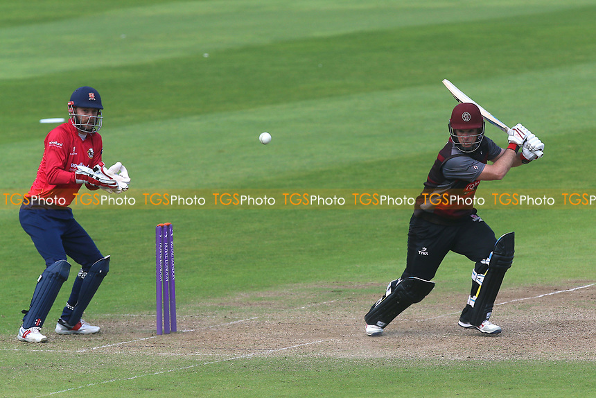 Jim Allenby in batting action for Somerset as James Foster looks on from behind the stumps during Somerset vs Essex Eagles, Royal London One-Day Cup Cricket at The Cooper Associates County Ground on 14th May 2017