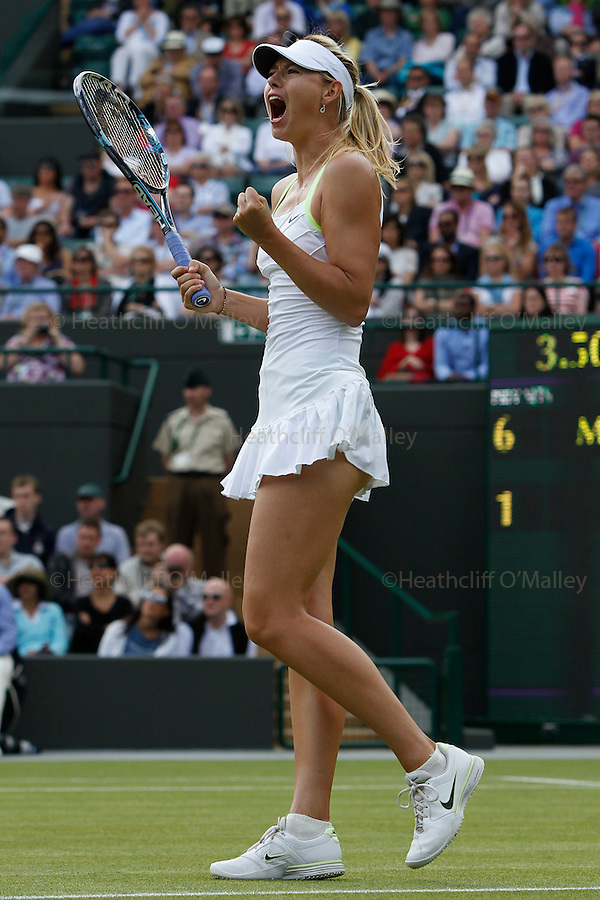Mcc0038137 . Daily Telegraph..Wimbledon Day 5..Maria Sharapova is now through to the 4th round after beating Taiwan's Su-Wei Hsieh on No1 Court at Wimbledon 2012...27 June 2012