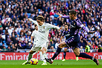 Luka Modric of Real Madrid (L) fights for the ball with Ruben Alcaraz Jimenez of Real Valladolid during the La Liga 2018-19 match between Real Madrid and Real Valladolid at Estadio Santiago Bernabeu on November 03 2018 in Madrid, Spain. Photo by Diego Souto / Power Sport Images
