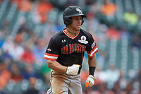 Mac Odom (1) of the Sam Houston State Bearkats hustles down the first base line against the Kentucky Wildcats during game four of the 2018 Shriners Hospitals for Children College Classic at Minute Maid Park on March 3, 2018 in Houston, Texas. The Wildcats defeated the Bearkats 7-2.  (Brian Westerholt/Four Seam Images)