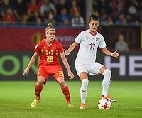 20181005 - LEUVEN , BELGIUM : Belgian Laura Deloose (L) and Switzerland's Florijana Ismaili (R)  pictured during the female soccer game between the Belgian Red Flames and Switzerland , the first leg in the semi finals play offs for qualification for the World Championship in France 2019, Friday 5 th october 2018 at OHL Stadion Den Dreef in Leuven , Belgium. PHOTO SPORTPIX.BE | DIRK VUYLSTEKE