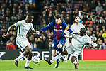 Lionel Andres Messi (C) of FC Barcelona competes for the ball with N'Golo Kante (R) and Antonio Rudiger of Chelsea FC during the UEFA Champions League 2017-18 Round of 16 (2nd leg) match between FC Barcelona and Chelsea FC at Camp Nou on 14 March 2018 in Barcelona, Spain. Photo by Vicens Gimenez / Power Sport Images