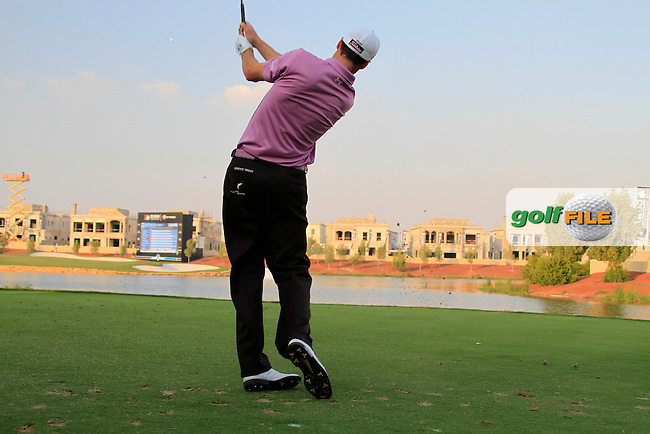 Ross Fisher tees off on the par3 17th hole during Day 3 of the Dubai World Championship, Earth Course, Jumeirah Golf Estates, Dubai, 27th November 2010..(Picture Eoin Clarke/www.golffile.ie)