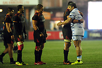 Dries van Schalkwyk of Southern Kings shakes hands with Nick Williams of Cardiff Bluesduring the Guinness Pro14 Round 17 match between Cardiff Blues and Isuzu Southern Kings at the Cardiff Arms Park in Cardiff, Wales, UK. Saturday 02 March 2019