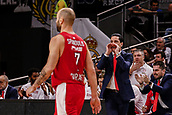 9th February 2018, Wiznik Centre, Madrid, Spain; Euroleague Basketball, Real Madrid versus Olympiacos Piraeus; Giannis Sfairopoulos Coach of OLYMPIACOS BC sends in instructions