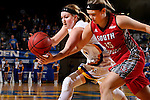 BROOKINGS, SD - FEBRUARY 4:  Ellie Thompson #45 from South Dakota State battles for the loose ball with Taylor Frederick #15 from the University of South Dakota during their game Saturday afternoon at Frost Arena in Brookings. (Photo by Dave Eggen/Inertia)