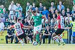 04.09.2018, Hoheellern-Stadion, Leer, GER, FSP, Werder Bremen (GER) vs FC Emmen (NED)<br /> <br /> DFL REGULATIONS PROHIBIT ANY USE OF PHOTOGRAPHS AS IMAGE SEQUENCES AND/OR QUASI-VIDEO.<br /> <br /> im Bild / picture shows<br /> Max Kruse (Werder Bremen #10) im Duell / im Zweikampf mit Glenn Bijl (FC Emmen #23), Keziah Veendorp (FC Emmen #13), <br /> <br /> Foto © nordphoto / Ewert